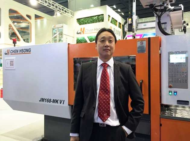 Stephen Chung with injection molding machine- JM168