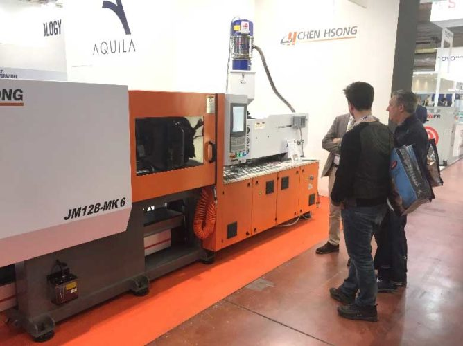 At this MECSPE, we showed a JM128-MK6 from the newest injection molding series at our AQUILA booth.