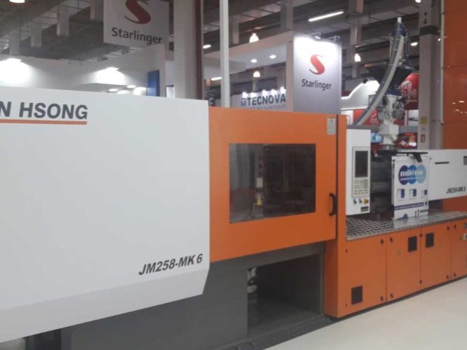 JM258-MK6 Injection Molding Machine, equipped with advanced servo drive control system, that guarantees fast and precise movements.