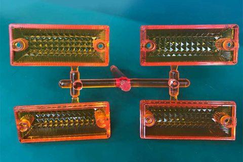 Molding-automotive-turn-signal-lampshade-backside